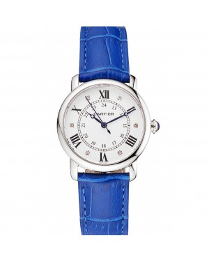 Cartier Ronde White Dial Diamond Hour Marks Stainless Steel Case Blue Leather Strap