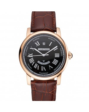 Swiss Cartier Rotonde Annual Calendar Black Dial Rose Gold Case Brown Leather Strap