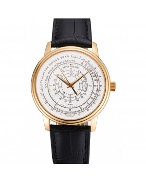 Swiss Patek Philippe Multi-Scale Chronograph White Dial Gold Case Black Leather Strap