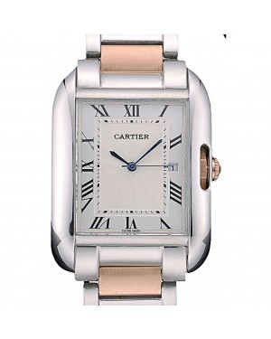 Cartier Tank Anglaise 36mm White Dial Stainless Steel Case Two Tone Bracelet