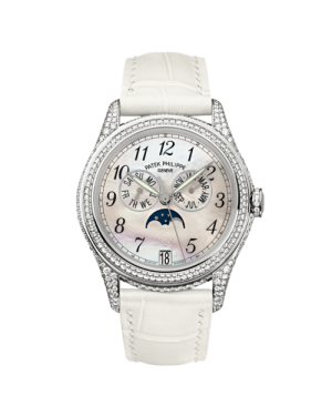 AAA Replica Patek Philippe Annual Calendar White Gold Diamond White Mother of Pearl Watch 4937G-001