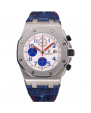 Swiss Audemars Piguet Royal Oak Offshore White Dial Stainless Steel Case Blue Leather Strap 622850