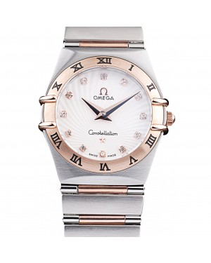 Omega Swiss Constellation Jewelry Rose Gold Case Small Radial Emblem White Dial
