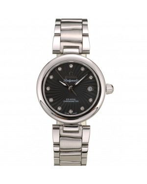 Omega DeVille Ladymatic Stainless Steel Strap Black Dial
