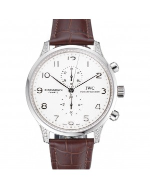 IWC Portugieser Chronograph White Dial Steel Hands And Numerals Steel Case With Diamonds Brown Leather Strap