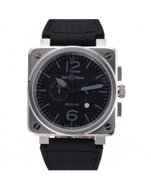 Bell and Ross BR 03-94 Black Dial Silver Case Black Leather Strap