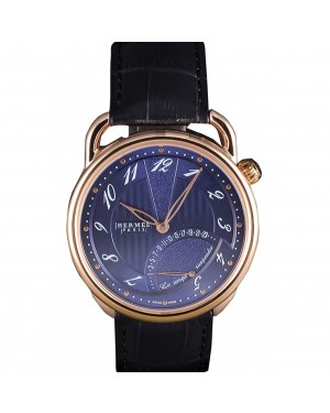Hermes Classic Croco Leather Strap Navy Dial 801404