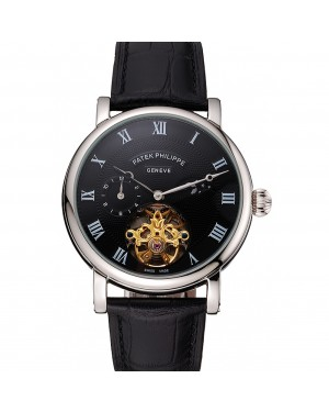 Patek Philippe Complications Moonphase Tourbillon Black Dial Stainless Steel Case Black Leather Strap