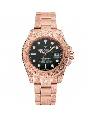 Rolex Submariner Skull Limited Edition Green Dial Rose Gold Case And Bracelet 1454074