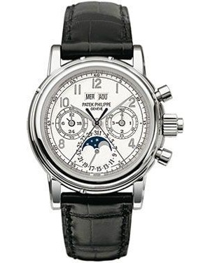 AAA Replica Patek Philippe Perpetual Calendar Split Seconds Chronograph White Gold White Arabic Watch 5004G-013
