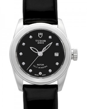 AAA Replica Tudor Glamour Date Black Dial Calfskin Strap Ladies Watch 51000-6