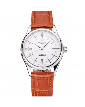 Swiss Rolex Cellini White Dial Roman Numerals Stainless Steel Case Light Brown Leather Strap