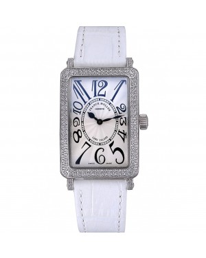Franck Muller Long Island Classic White Dial Diamonds Case White Leather Band 622368