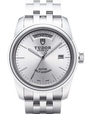 AAA Replica Tudor Glamour Date Day Silver Dial Steel Strap Mens Watch 56000-1