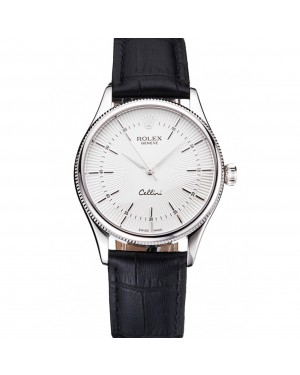 Swiss Rolex Cellini White Guilloche Dial Stainless Steel Case Black Leather Strap