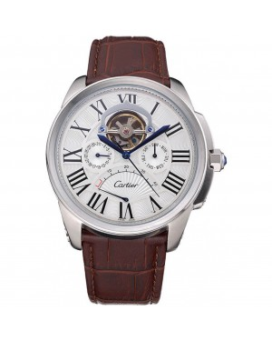 Cartier Calibre Tourbillon White Dial Stainless Steel Case Brown Leather Strap 622750