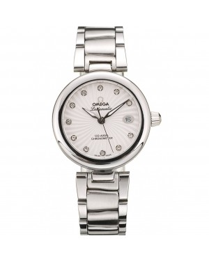 Omega DeVille Ladymatic Stainless Steel Strap White Dial