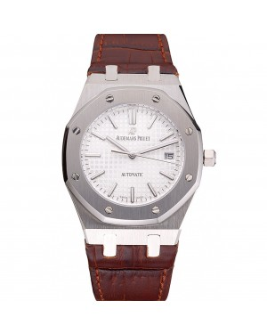 Swiss Audemars Piguet Royal Oak White Dial Stainless Steel Case Brown Leather Strap