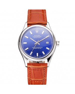 Swiss Rolex Datejust Blue Dial Stainless Steel Case Light Brown Leather Strap