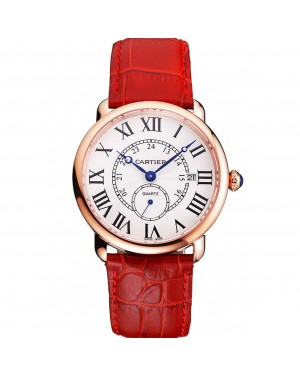 Cartier Ronde Louis Cartier White Dial Gold Case Red Leather Strap