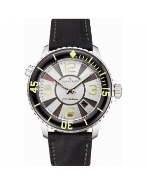 Swiss Blancpain 500 Fathoms Silver Dial Stainless Steel Case Black Canvas Strap