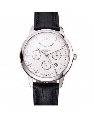 Swiss Vacheron Constantin Traditionnelle Power Reserve White Dial Stainless Steel Case Black Leather Strap