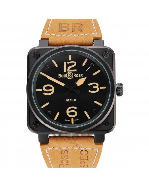Bell and Ross BR 01-92 Black Dial Black Case Brown Leather Strap