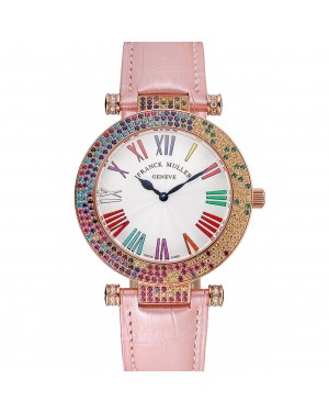Franck Muller Double Mistery 4 Saisons White Dial Rose Gold Case Light Pink Leather Strap