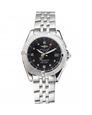 Breitling Colt Lady Black Dial Diamond Hour Marks Stainless Stees Case And Bracelet