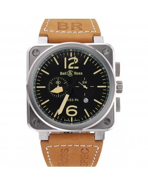 Bell and Ross BR 03-94 Black Dial Silver Case Brown Leather Strap