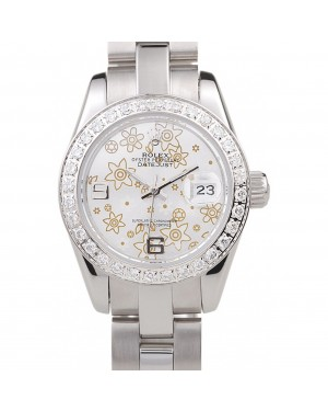 Rolex Datejust Polished Stainless Steel Silver Flowers Dial Diamond Plated 98082