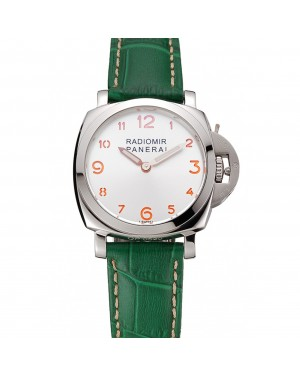 Panerai Radiomir White Dial Stainless Steel Case Green Leather Strap 1453804