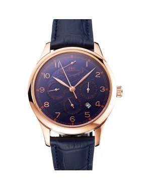 Swiss IWC Portugieser Power Reserve Blue Dial Rose Gold Case Blue Leather Strap