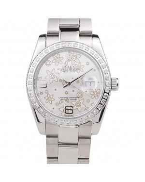 Rolex Datejust Polished Stainless Steel Silver Flowers Dial Diamond Plated 98081