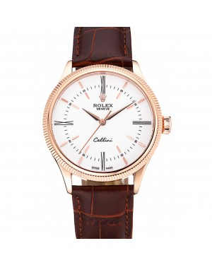 Swiss Rolex Cellini Time Gold Case White Dial Brown Leather Bracelet 622655