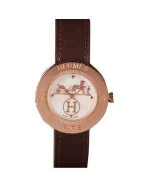 Hermes Classic MOP Dial Brown Leather Bracelet 801389