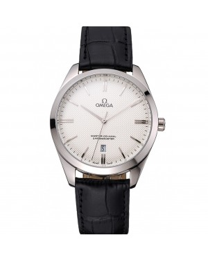 Omega Tresor Master Co-Axial White Dial Stainless Steel Case Black Leather Strap