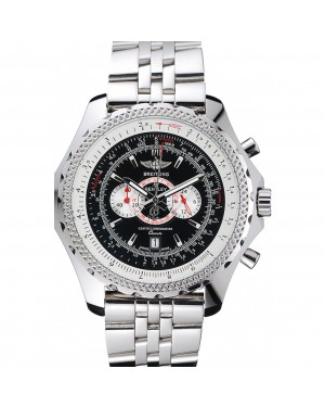 Breitling Bentley Chronograph Black Dial Stainless Steel Strap 98192