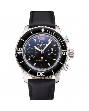 Swiss Blancpain Air Command Monaco YS Black Dial Stainless Steel Case Black Leather Strap