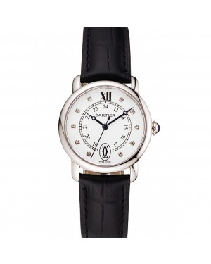 Cartier Ronde White Dial Diamond Hour Marks Stainless Steel Case Black Leather Strap