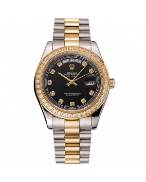 Swiss Rolex Day-Date Black Dial Gold Diamond Case Two Tone Stainless Steel Bracelet 1453975