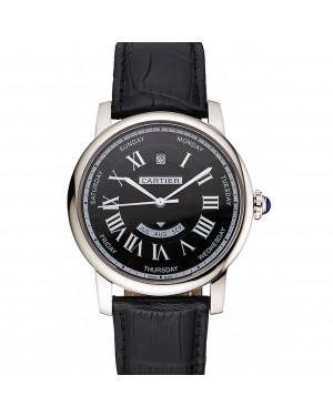 Swiss Cartier Rotonde Annual Calendar Black Dial Stainless Steel Case Black Leather Strap
