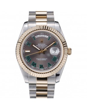 Rolex DayDate Grey Dial Dual Colored Stainless Steel Strap 41981