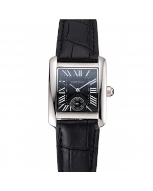 Cartier Tank MC Stainless Steel Case Black Dial Black Leather Strap 622174