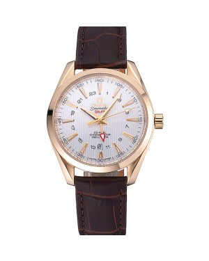 Omega Seamaster Planet Ocean GMT White Dial Gold Case Brown Leather Band 622399