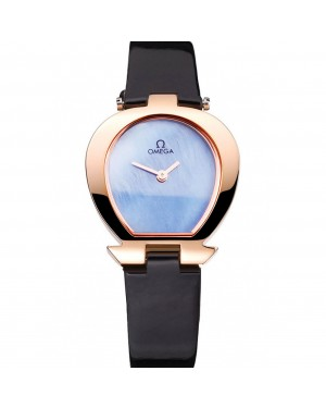 Omega Ladies Watch Sky Blue Dial Gold Case Black Leather Strap 622821
