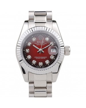 Rolex Datejust Polished Stainless Steel Two Tone Red Dial