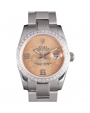 Rolex Datejust Polished Stainless Steel Orange Flowers Dial Diamond Plated