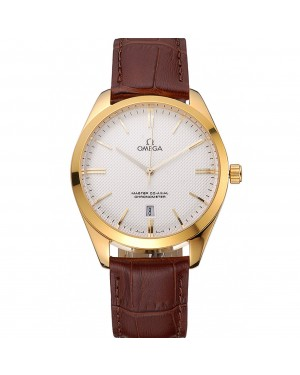 Omega Tresor Master Co-Axial White Dial Gold Case Brown Leather Strap