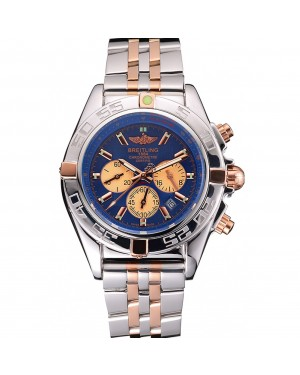 Breitling Chronomat 44 Blue Dial with White Subdials 2 Tone Stainless Steel Bracelet 622510